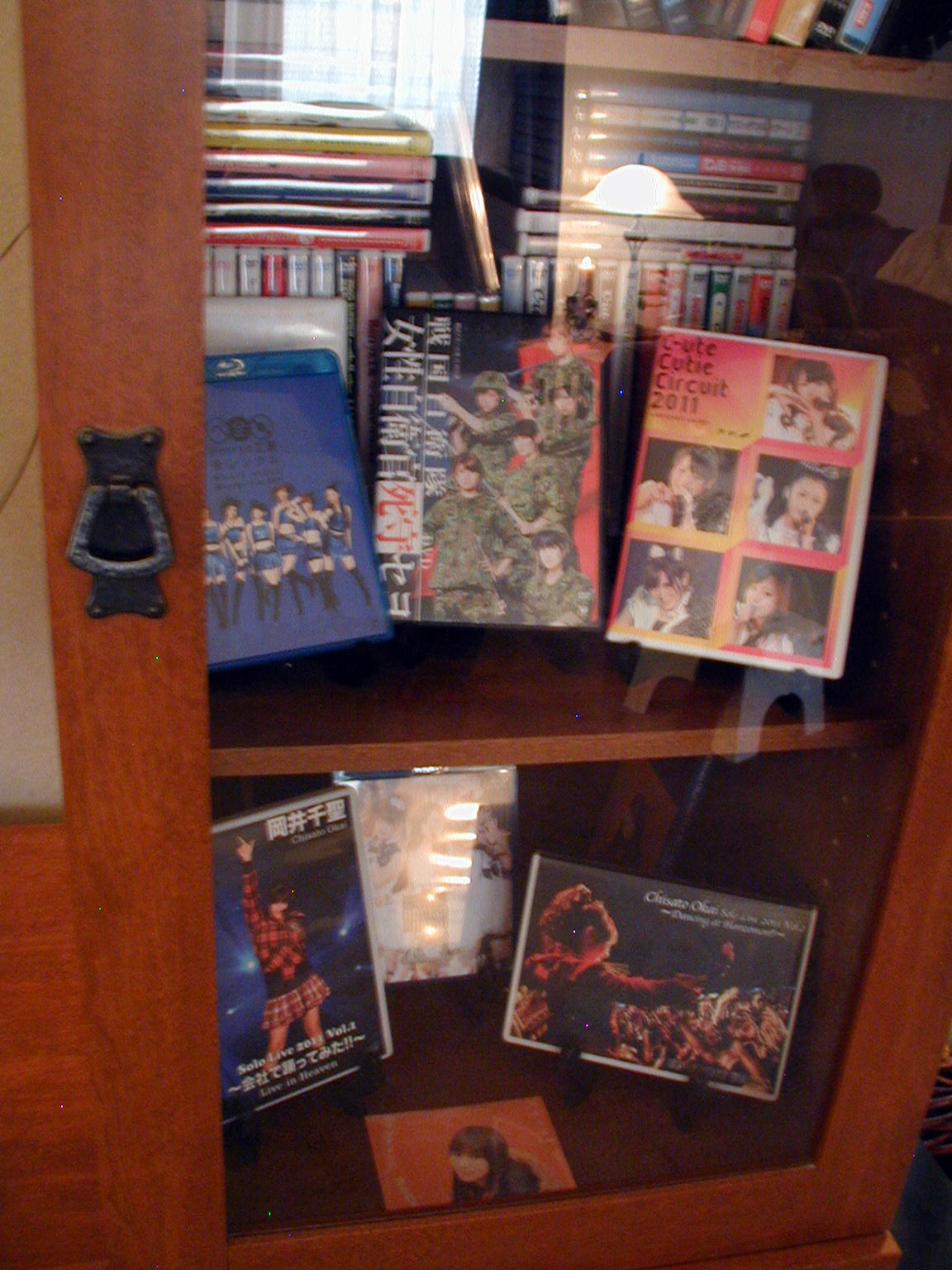 Closeup of family room display of DVD's and BluRay's